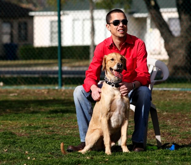 1/8/10 12:51:31 -- Los Angeles, CA USA Today reporter Scott Bowles, 44, plays with his two dogs Teddy the Golden Retriever, and Esme the Box Terrier at the neighborhood dog park in Encino. Without any family on the west coast, his dogs are his constant companions besides some close friends.  Bowles has been suffering from the effects of a transplant he received 10 years ago. July 12th represents the 10th anniversary of Bowles' pancreas and kidney transplant. Bowles, who has suffered from Type 1 Diabetes since the age of 14 underwent a transplant, which cured him of the needs of insulin injections, but now has to live with the complications of that transplant and suffers from Cyclical Vomiting Syndrome, often sending him to the hospital.    Photo by Dan MacMedan, USA TODAY contract photographer