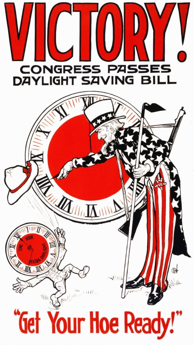 World War One, Patriotic Poster 'Victory-Daylight-Savings'. American 1917. (Photo by Universal History Archive/UIG via Getty Images)